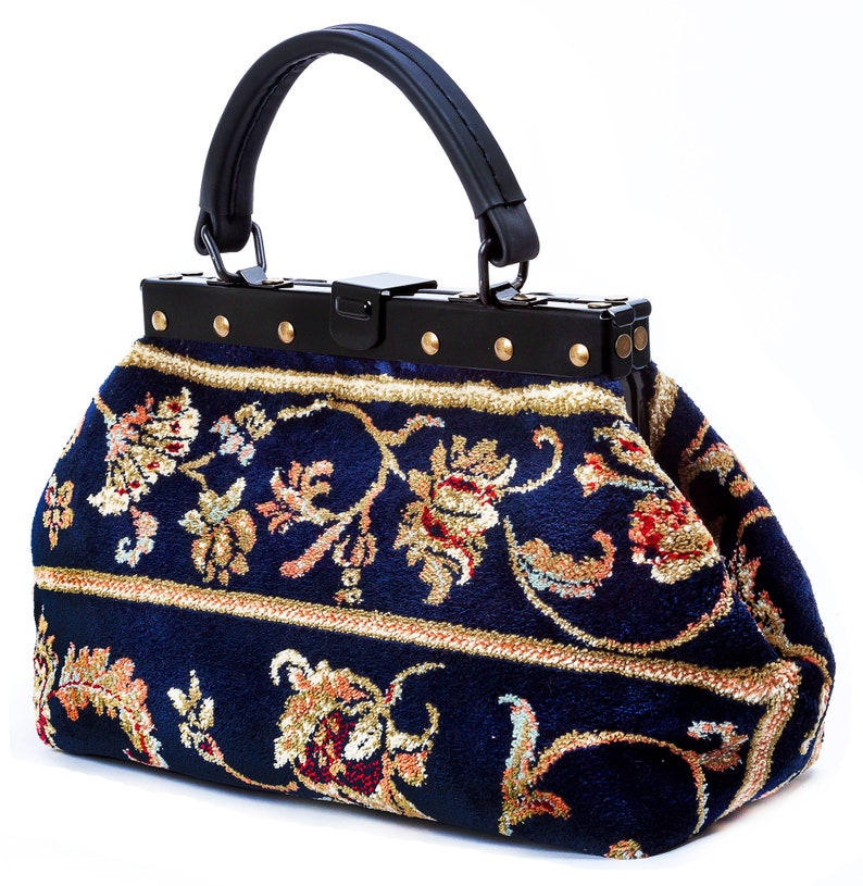 Victorian Purses, Bags, Handbags Small Gladstone Carpet Bag Exquisite Pergola Navy - Mary Poppins Victorian Carpet Bag $244.14 AT vintagedancer.com