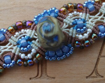Micro Macrame Beaded Bracelet in Blue and Earth Colors