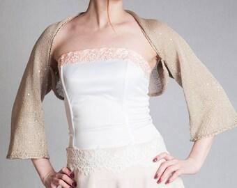 Cotton Bolero Sequin bolero Wedding bolero glitter bolero Shoulder Cover Bridesmaid shrug knitted cotton shrug rustic weddings summer cape