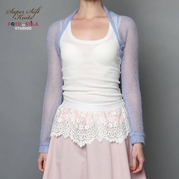 4628a2da5cd Bridesmaids bolero knit light blue shrug bridesmaid dress etsy jpg 570x570 Blue  shrugs for dresses