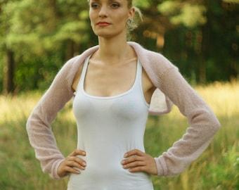 Bridal Bolero Shrug Wedding shrug bolero dress Cover up Knit light pink sweater mohair silk evening stole marriage jacket gift for her
