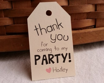 25 Thank you for coming to my PARTY Tags, Custom Party Favor Tags, Custom Favor Tags
