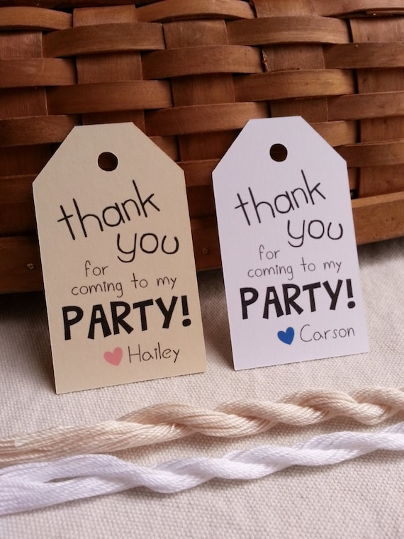 25 thank you for coming to my party tags party favor tags etsy
