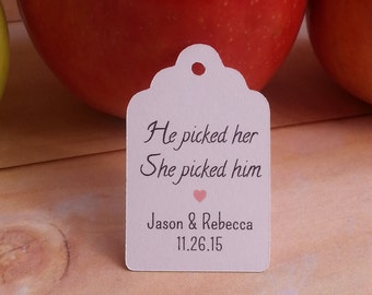 25 He picked her She picked him Tags, Custom Fall Wedding Favor Tags, Fall Wedding He picked her She picked him Tags