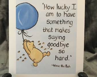 Sympathy Card Miss You Moving Going Away Goodbye Classic Pooh Winnie The  Pooh Greeting Card Pooh Quote Graduation Love Card Pooh Art