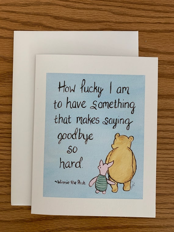 goodbye card Winnie the Pooh friendship quote, classic pooh goodbye card