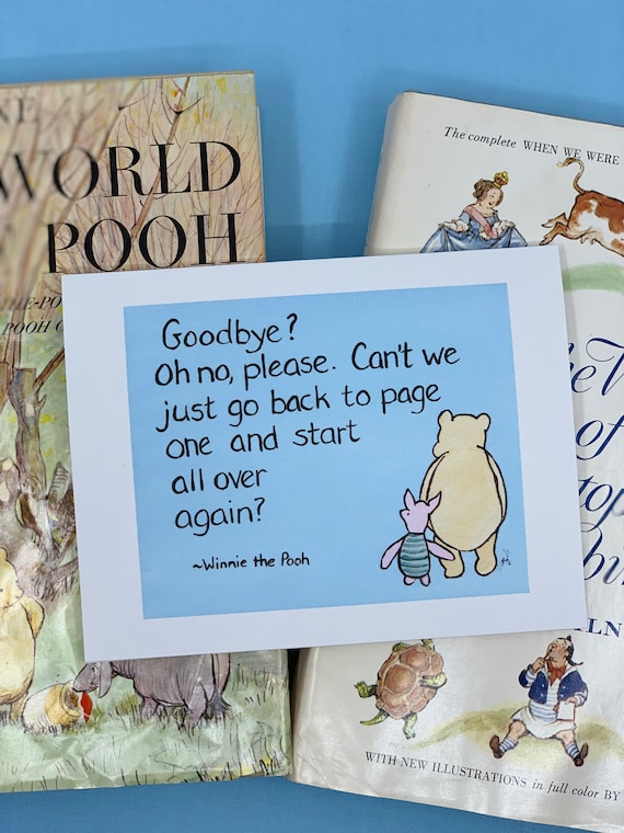 miss you Winnie the Pooh goodbye quote starting over card for friend