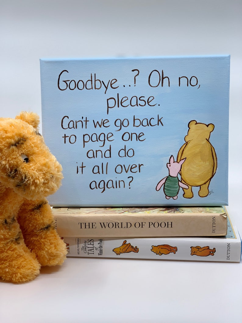 Winnie the Pooh quote art goodbye quote miss you, college student gift
