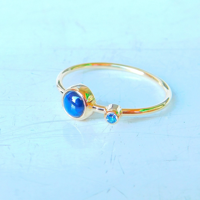 Gold ring with sapphire Star sapphire ring Gold ring star sapphire Sapphire ring solid gold ring Gold engagement ring