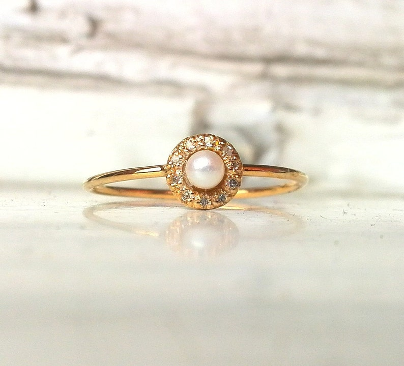 Pave Diamond ring Pearl Engagement Ring Diamond Wedding Ring 14k Gold Pear Ring Diamond Wedding Band