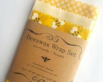 Beeswax Wrap Set - Set of 3 - Yellow - Reusable Beeswax Food Wraps Natural Living Accessories - Eco friendly kitchen - lunch storage