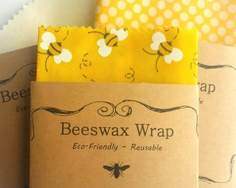 Beeswax Wraps - Reusable Beeswax Food Wrap - Natural Living Accessories - Eco friendly kitchen - lunch storage - choose your size