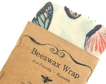 Butterfly Beeswax Wraps - Reusable Beeswax Food Wrap - Natural Living Accessories - Eco friendly kitchen - lunch storage - choose your size