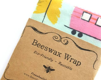 Camping Pattern Beeswax Wraps - Reusable Beeswax Food Wrap - Natural Living Accessories - Eco friendly kitchen - choose your size