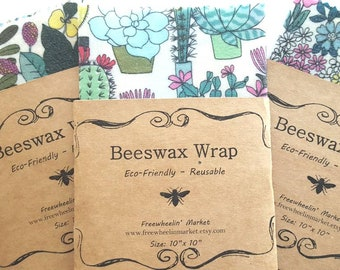 Floral  or Cacti Beeswax Wraps - Reusable Beeswax Food Wrap - Natural Living Accessories - Eco friendly kitchen - choose your size