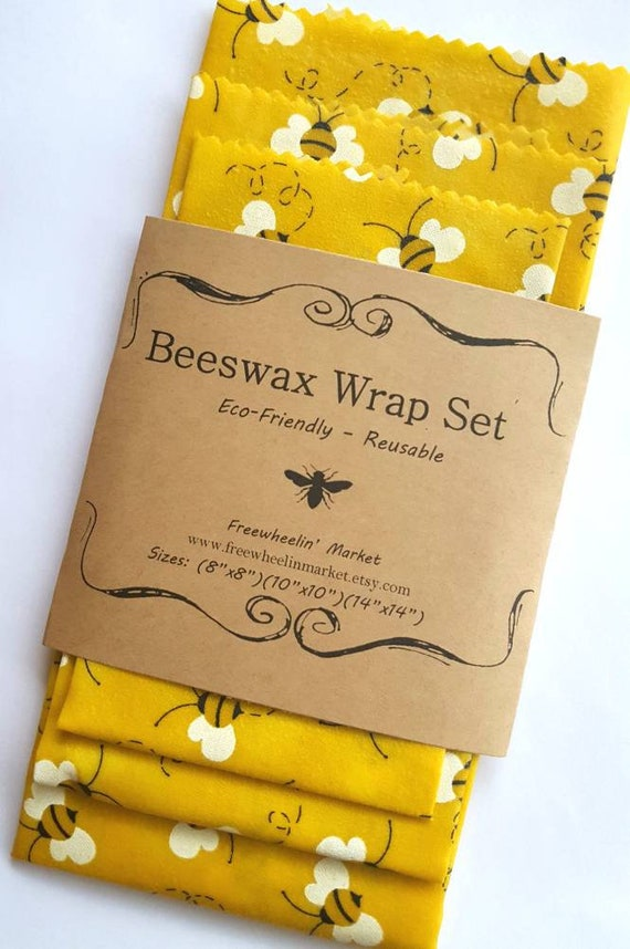 Beeswax Wrap Set Set Of 3 Yellow Bees Reusable Beeswax Etsy