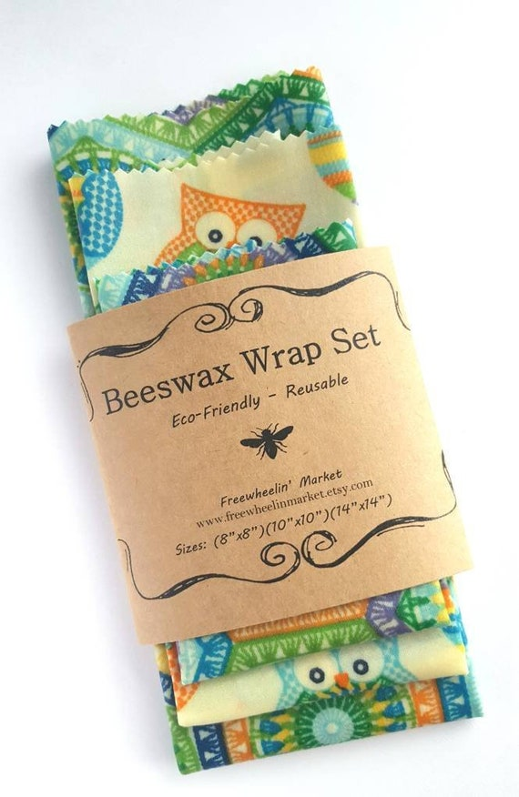 Beeswax Wrap Set Set Of 3 Colorful Owl Set Reusable Etsy