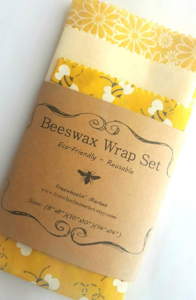 Beeswax Wrap Set Set Of 3 Yellow Flowers And Bees Etsy
