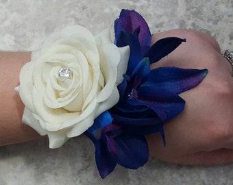Crystals Rhinestone Wrist Corsage MATCHING Boutonniere BOXED Majestic Blue Purple Black Singapore Galaxy Dendrobium Orchids