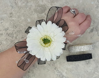 White Gerbera Daisy, Crystals and Wired Ribbon Accent Rhinestone Wrist Corsages & BOX - MATCHING BOUTONNIERES!