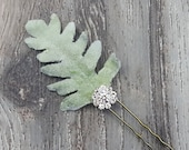 BOXED 2 - Dusty Miller Leaf with a Rhinestone Button Hair Pins - MATCHING Corsages / Boutonnieres / Bouquet