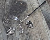 BOXED 2 - Silver Antique Leaves, Clear Glass Teardrops Hair Bobby Pins - Wedding / Bridal / Prom - 5 COLORS Available!