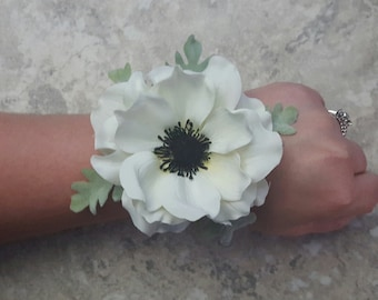 Anemone Realistic Cream White with Dusty Miller Leaves LACE Wrist Corsages & BOX - MATCHING Boutonnieres / Hair Pins