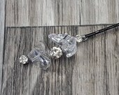 BOXED 2 - Unique Modern Diamonds Clear Ice Bobby Hair Pins - MATCHING Corsages / Boutonniere - Wedding / Bridal / Prom