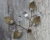 BOXED 2 - Bronze Gold Antique Leaves, Clear Glass Teardrops Hair Pins - Wedding / Bridal / Prom - 5 COLORS Available!