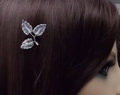 BOXED 2 - Clear Iridescent Glass Leaves Hair Bobby Pins - Wedding / Bridal / Prom