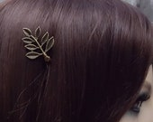 BOXED 2 - Bronze Gold Antique Leaf Hair Pins - Wedding / Bridal / Prom