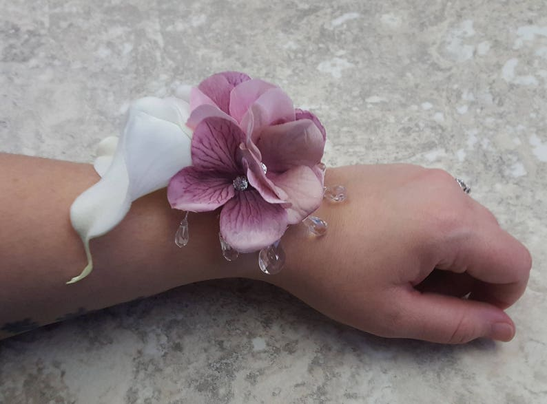 Pink Hydrangea Diamonds BOXED Real Touch Pure White Calla Lily Crystals Rhinestone Wrist Corsage MATCHING Boutonnieres  Hair Pin