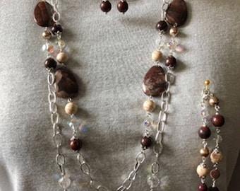 Brown Jasper Necklace, Bracelet, and Earrings Set