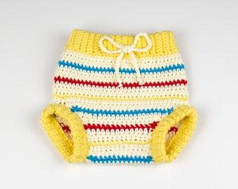 CROCHET PATTERN - Crochet Baby Pants Retro Chic - Baby Shorts - Baby Diaper Cover - PDF
