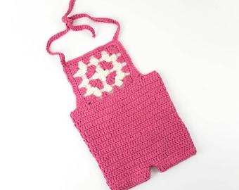 CROCHET PATTERN - Crochet Baby Romper Granny Square Romper - Baby Overall - Baby Onesie - PDF