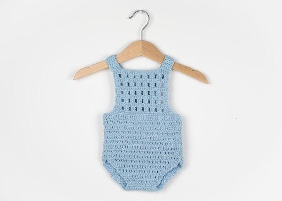 Crochet Pattern Crochet Baby Romper Blue Orchid Onesie Etsy