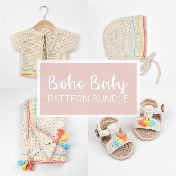 d2d20b9e1867c8 CROCHET PATTERN Bundle Four Crochet Patterns Boho Baby