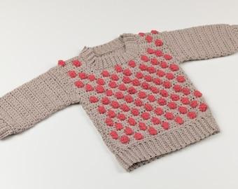 CROCHET PATTERN - Crochet Baby Sweater - Berry Sweater - Baby Pullover - PDF