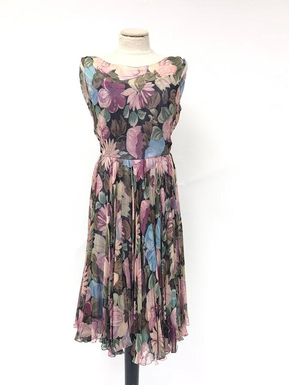 Vintage 1950's Floral Silk Chiffon Dress - image 2