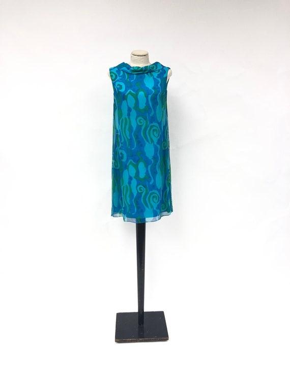 Vintage 1970's Silk Chiffon Printed Dress