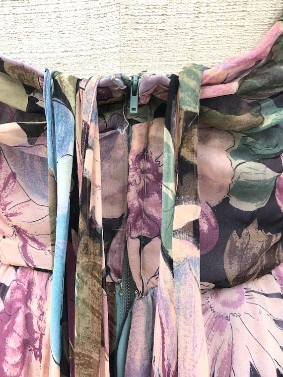 Vintage 1950's Floral Silk Chiffon Dress - image 9