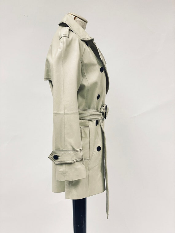 Vintage 1970's White Leather Trench Coat - image 7