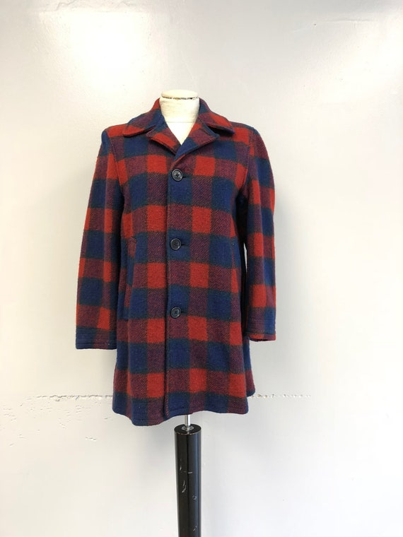 1940's/1950's Red & Blue Plaid Wool Coat