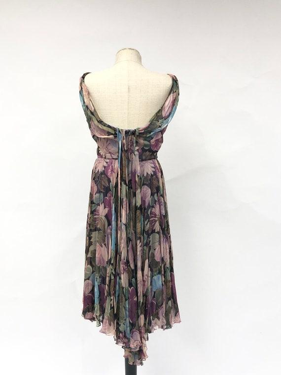 Vintage 1950's Floral Silk Chiffon Dress - image 7