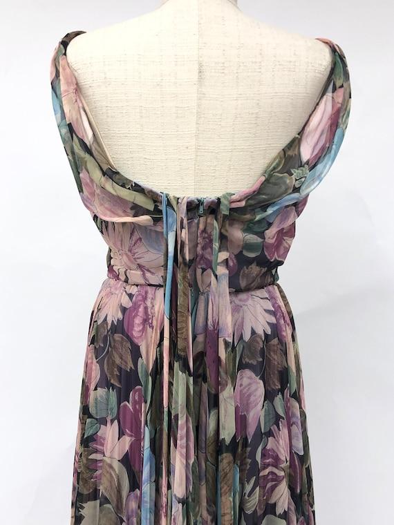 Vintage 1950's Floral Silk Chiffon Dress - image 8