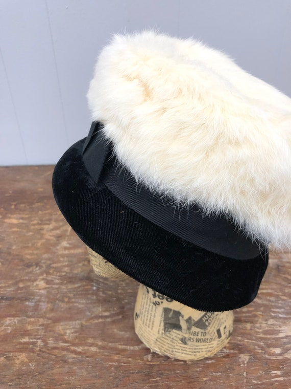 1960's Rabbit Fur and Velvet Hat - image 6