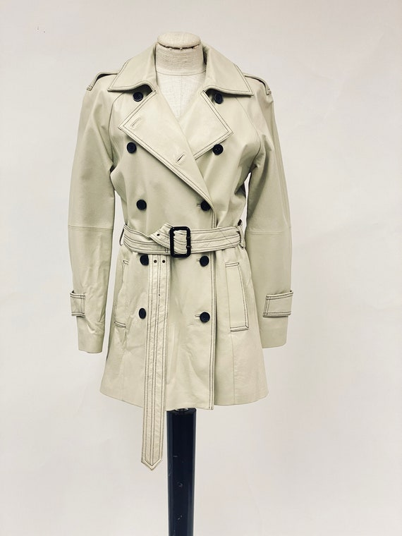 Vintage 1970's White Leather Trench Coat - image 2