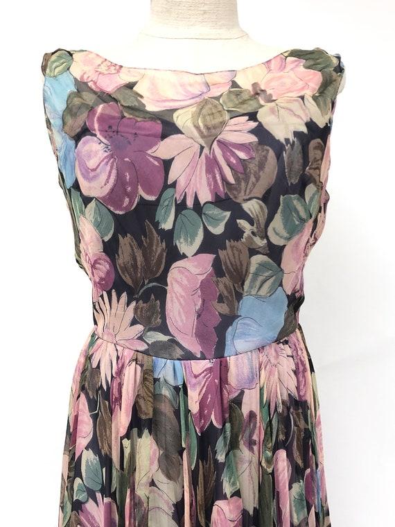 Vintage 1950's Floral Silk Chiffon Dress - image 3