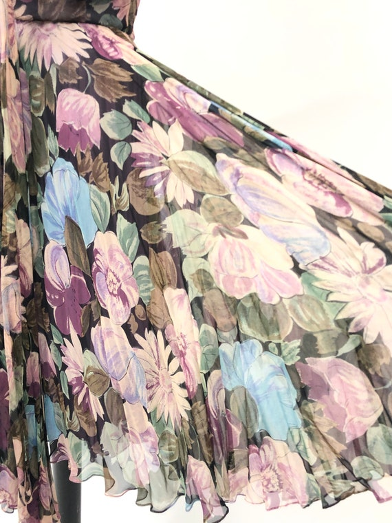 Vintage 1950's Floral Silk Chiffon Dress - image 10