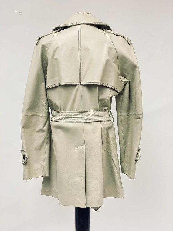 Vintage 1970's White Leather Trench Coat - image 9